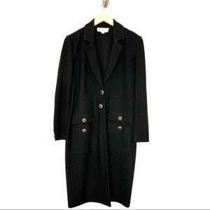 St. John Black Santana Knit Topper Coat